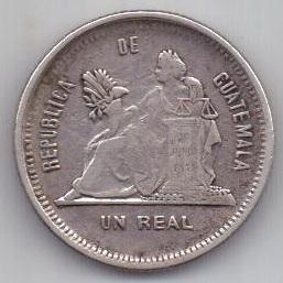 1 реал 1883 г. редкий год. Гватемала