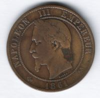 10 сантимов 1861 г. К Франция