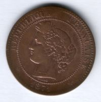 10 сантимов 1871 г. Франция