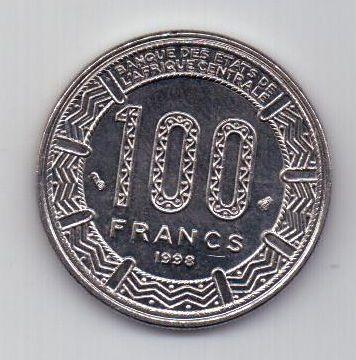 100 франков 1998 г. UNC. Центральная Африка