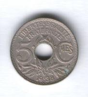 5 сантимов 1938 г. Франция
