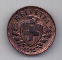 2 раппена 1912 г. AUNC. Швейцария