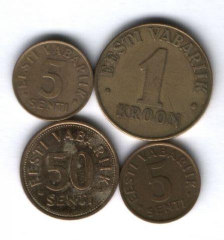 Набор монет Эстония 1991-2004 г. 4 шт.