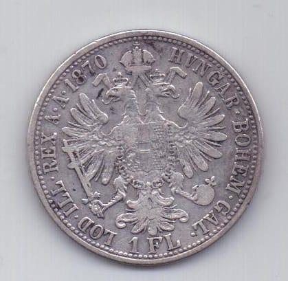 1 флорин 1870 г. редкий год. Австрия