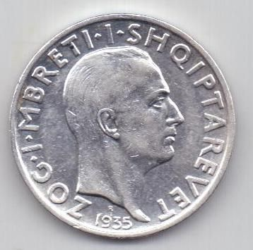 2 франка 1935 г. AUNC. Албания