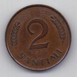 2 сантима 1939 г. Латвия