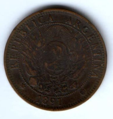 2 сентаво 1891 г. Аргентина