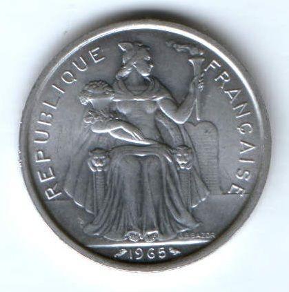 5 франков 1965 г. Французская Полинезия