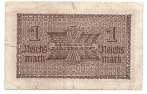 1 рейхмарка 1939-1945 г. Германия для оккупированных территорий.