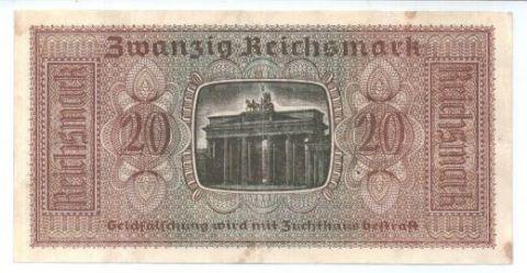 20 рейхсмарок 1939-1945 г. Германия для оккупированных территорий