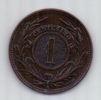 1 сантимо 1869 г. AUNC Уругвай