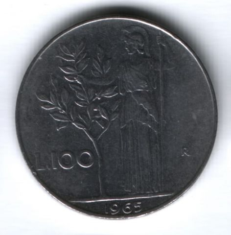 100 лир 1965 г. Италия