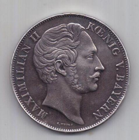 2 гульдена 1852 г. AUNC Бавария. Германия